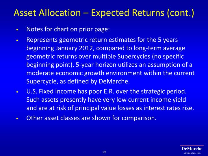 Asset Allocation – Expected Returns (cont.)