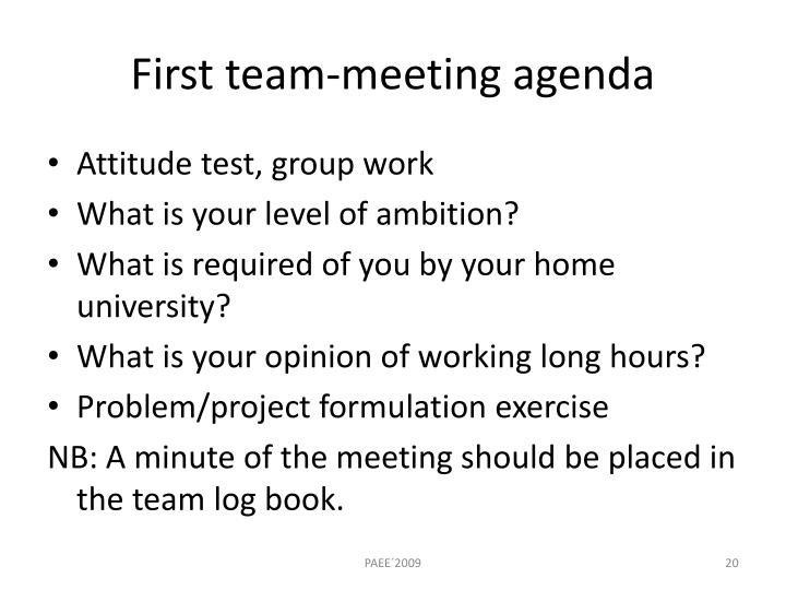 First team-meeting agenda