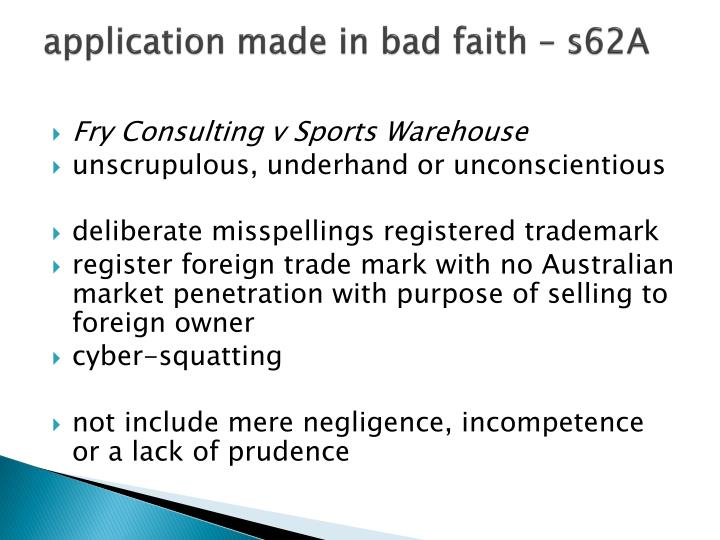 application made in bad faith – s62A