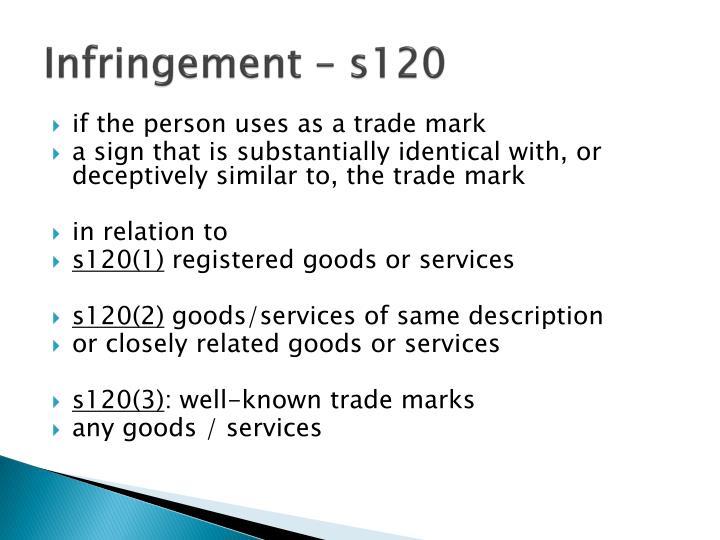 Infringement – s120
