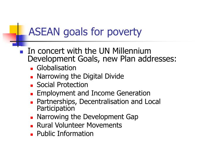 ASEAN goals for poverty