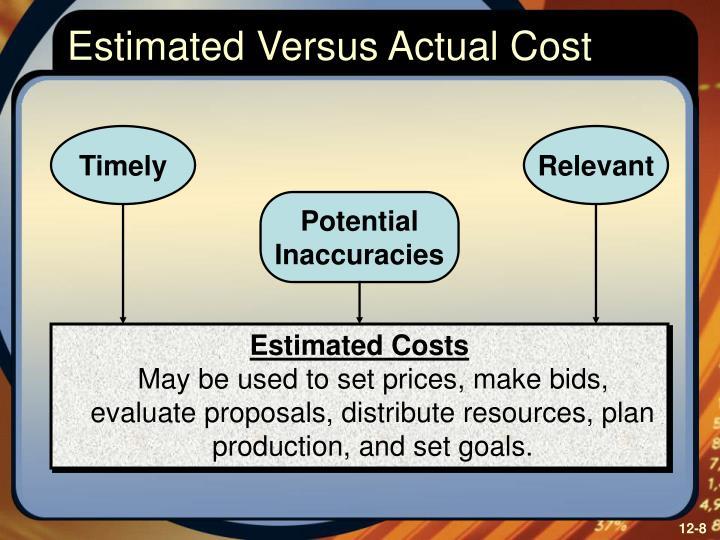 Estimated Versus Actual Cost
