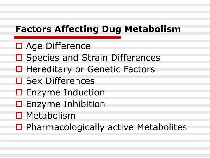 Factors Affecting Dug Metabolism