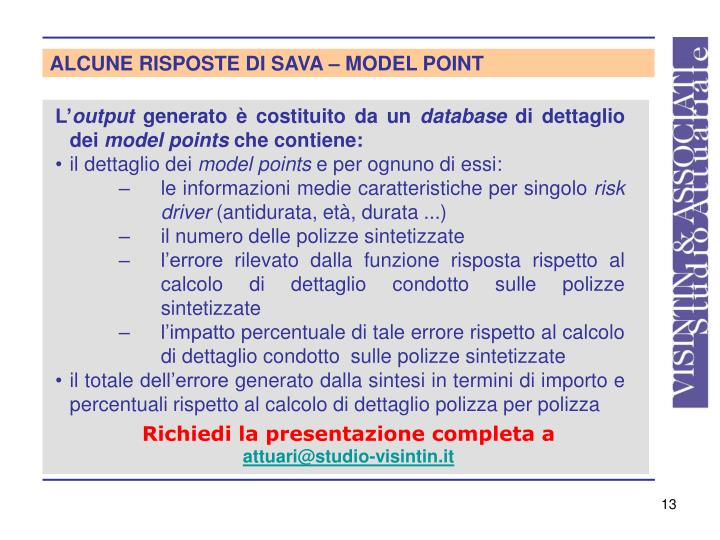 ALCUNE RISPOSTE DI SAVA – MODEL POINT