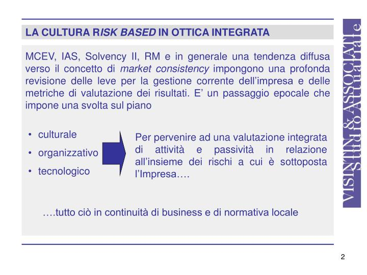 La cultura r isk based in ottica integrata