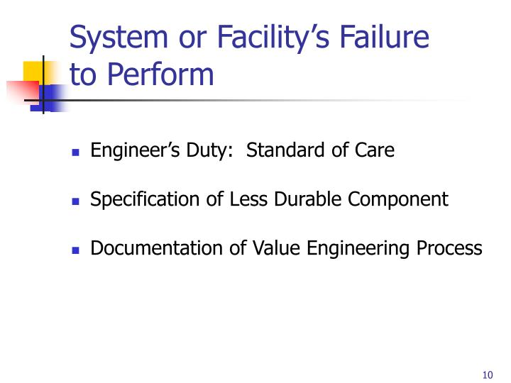 System or Facility's Failure to Perform