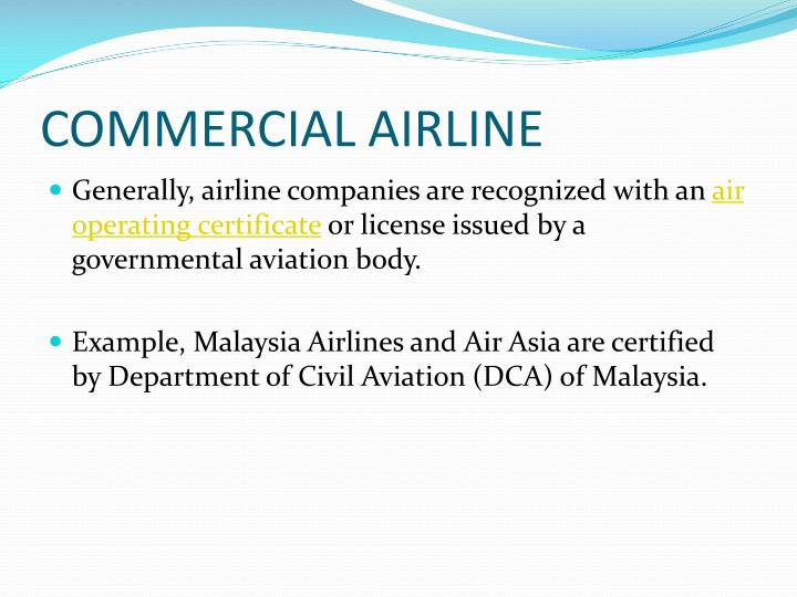 COMMERCIAL AIRLINE