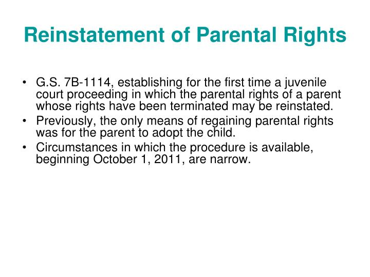 Reinstatement of Parental Rights