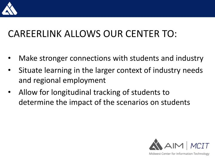CAREERLINK ALLOWS OUR CENTER TO: