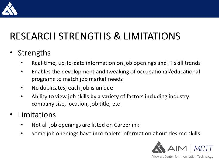 RESEARCH STRENGTHS & LIMITATIONS