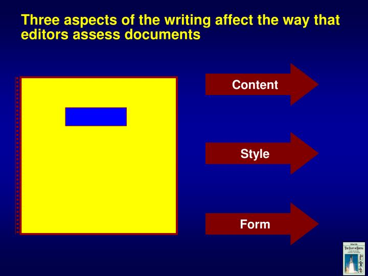 Three aspects of the writing affect the way that editors assess documents