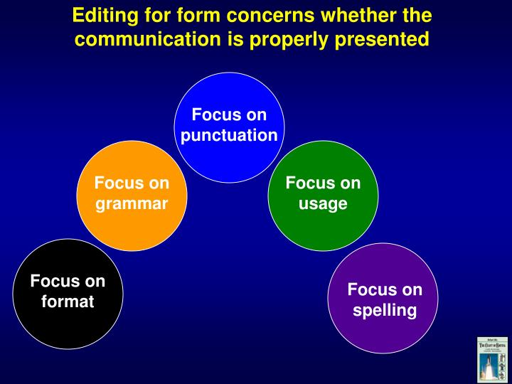 Editing for form concerns whether the communication is properly presented