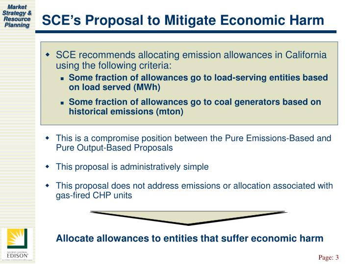 SCE's Proposal to Mitigate Economic Harm