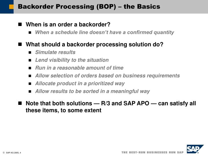 Backorder Processing (BOP) – the Basics