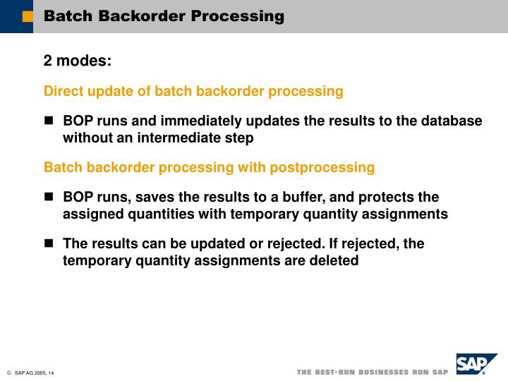 Batch Backorder Processing