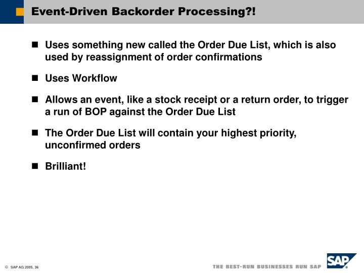 Event-Driven Backorder Processing?!