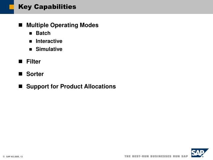 Key Capabilities