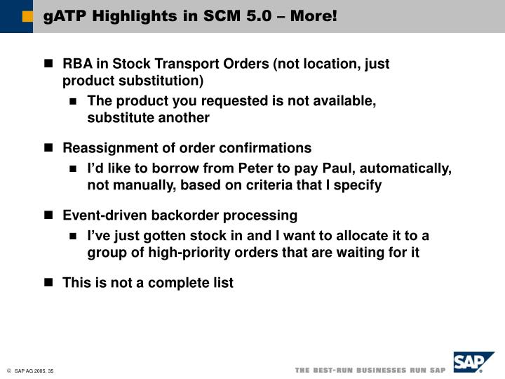 gATP Highlights in SCM 5.0 – More!