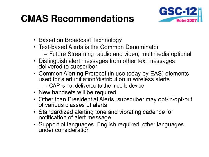CMAS Recommendations