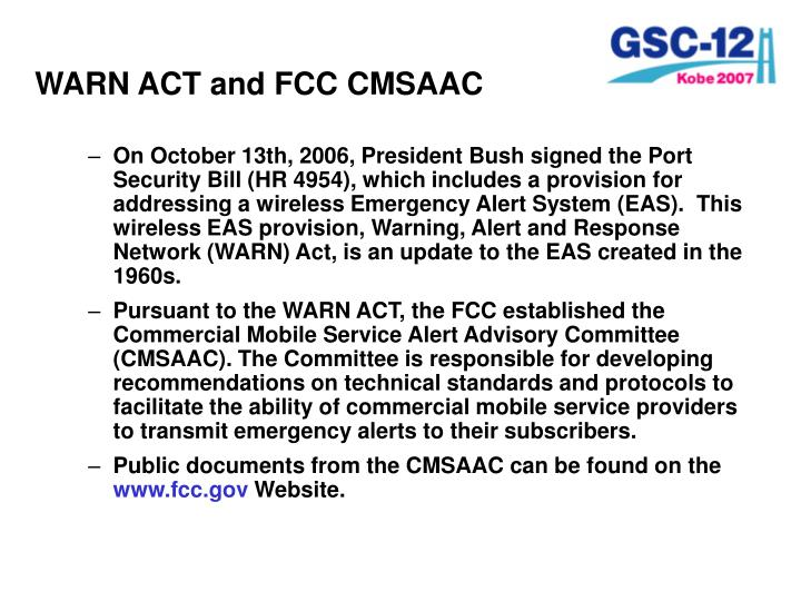 WARN ACT and FCC CMSAAC