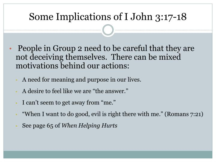 Some Implications of I John 3:17-18