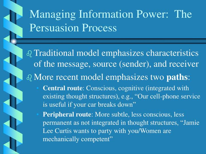Managing Information Power:  The Persuasion Process