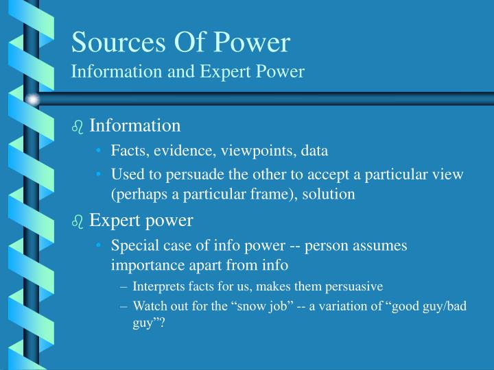 Sources of power information and expert power