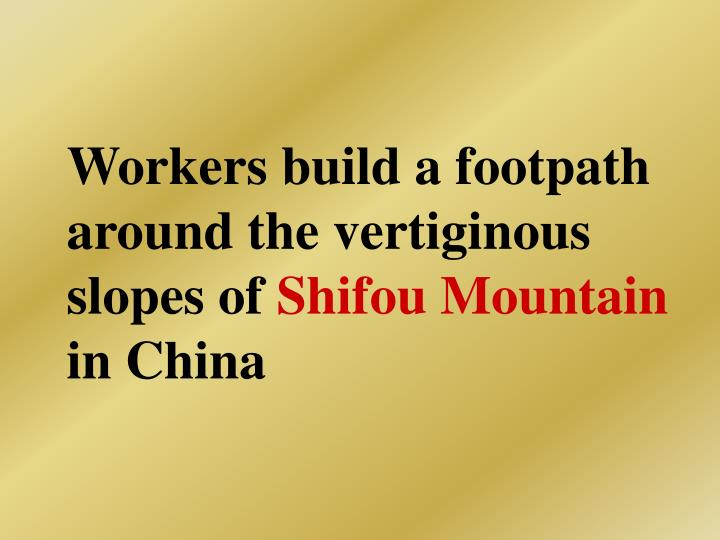 Workers build a footpath