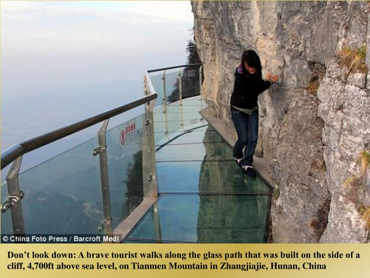 Dont look down: A brave tourist walks along the glass path that was built on the side of a cliff, 4,700ft above sea level, on Tianmen Mountain in Zhangjiajie, Hunan, China