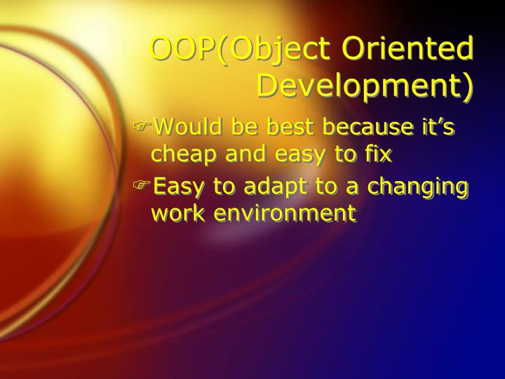 OOP(Object Oriented Development)