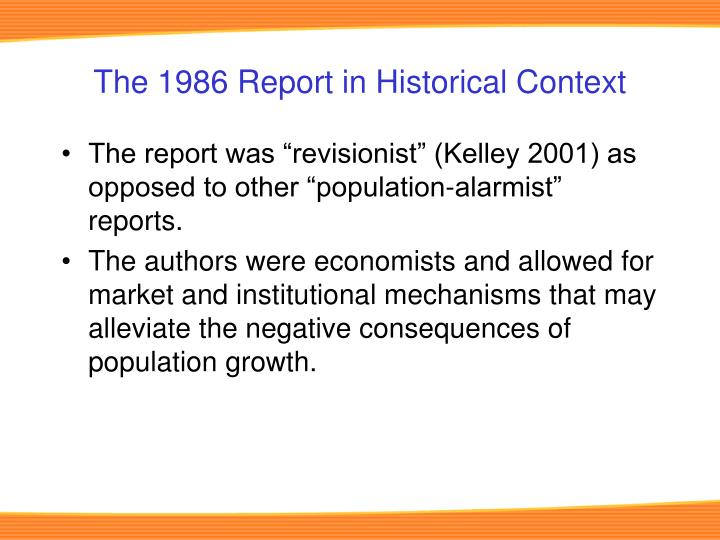The 1986 Report in Historical Context