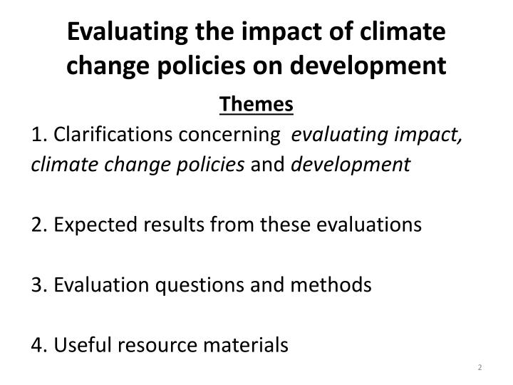 Evaluating the impact of climate change policies on development