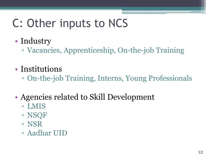 C: Other inputs to NCS