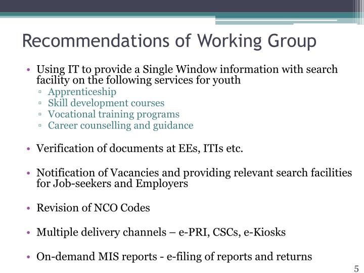 Recommendations of Working Group