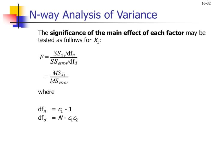 N-way Analysis of Variance