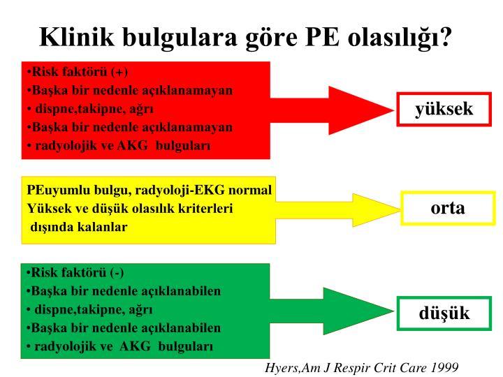 Klinik bulgulara göre PE olasılığı?
