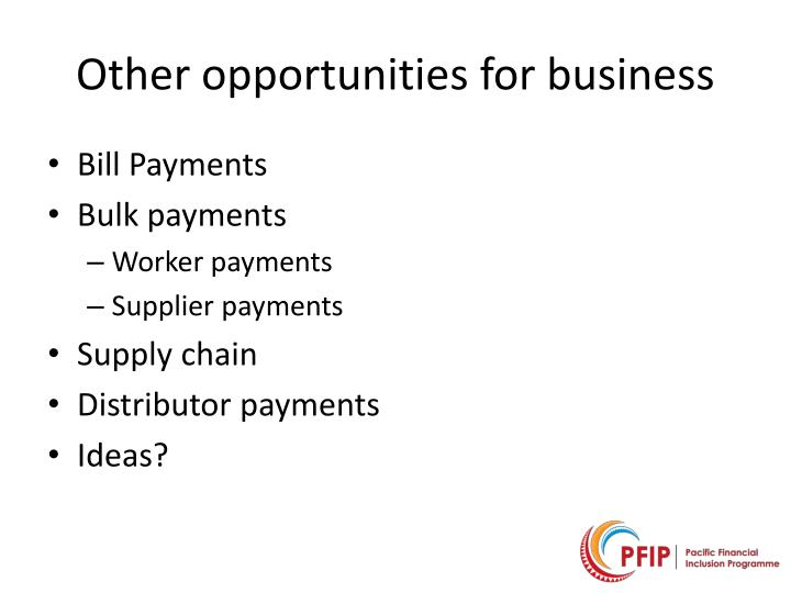 Other opportunities for business