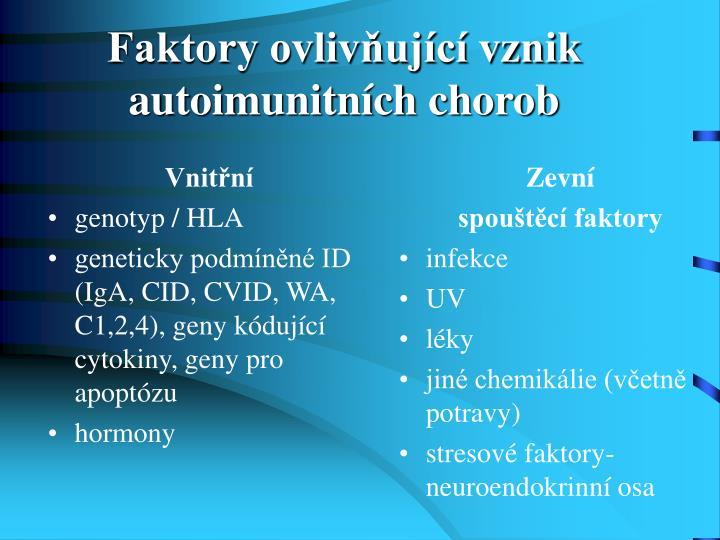 Faktory ovlivňující vznik autoimunitních chorob
