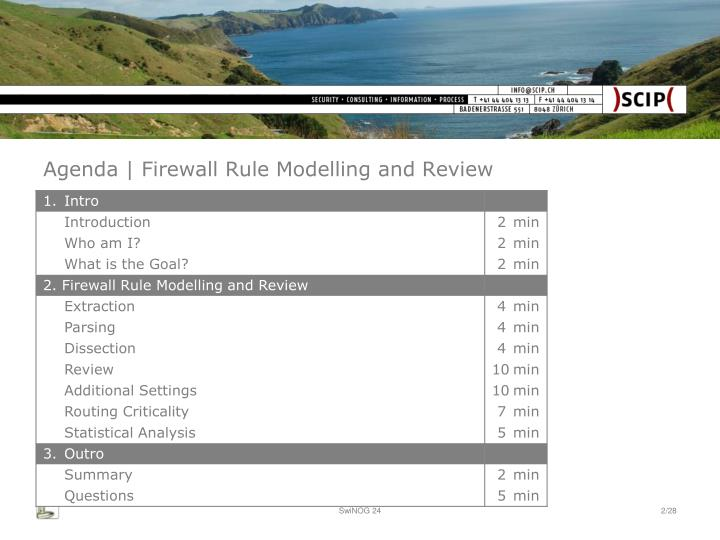 Agenda firewall rule modelling and review