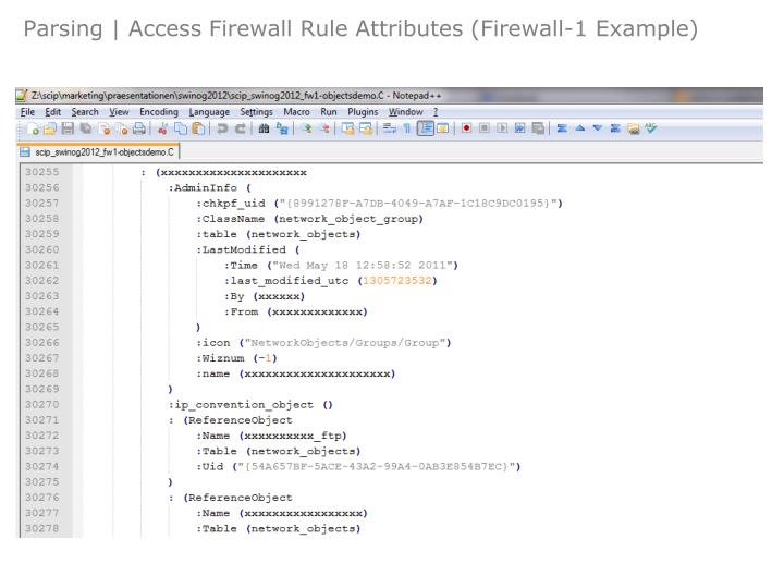 Parsing | Access Firewall Rule Attributes (Firewall-1 Example)