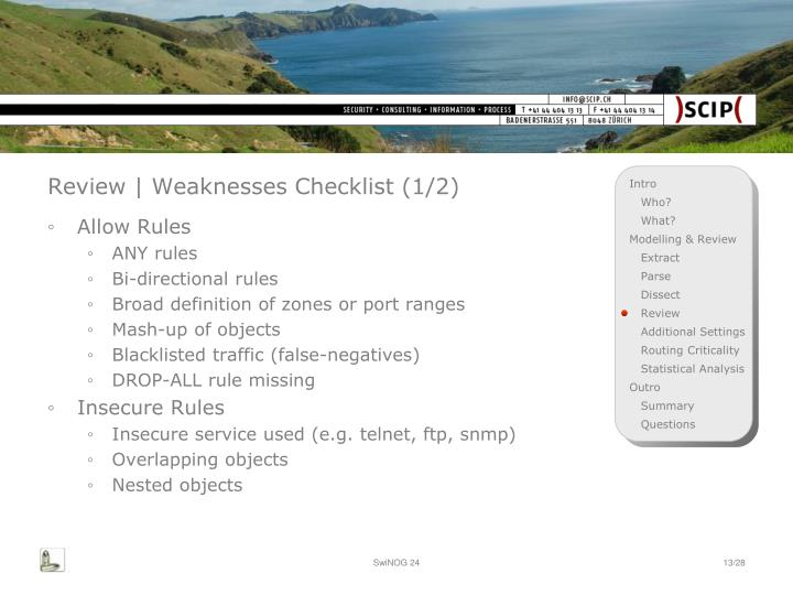 Review | Weaknesses Checklist (1/2)