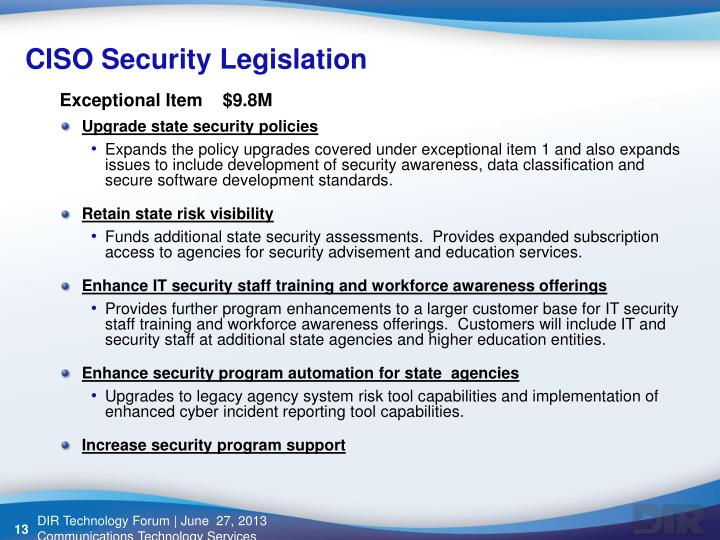 CISO Security Legislation