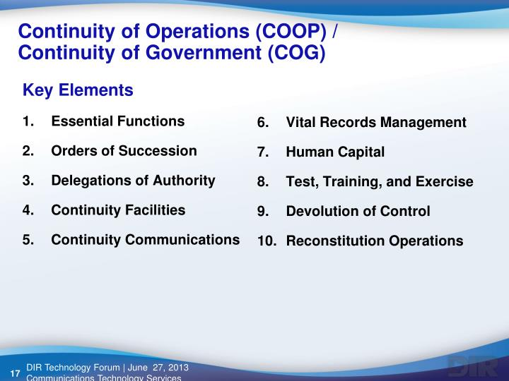 Continuity of Operations (COOP) /