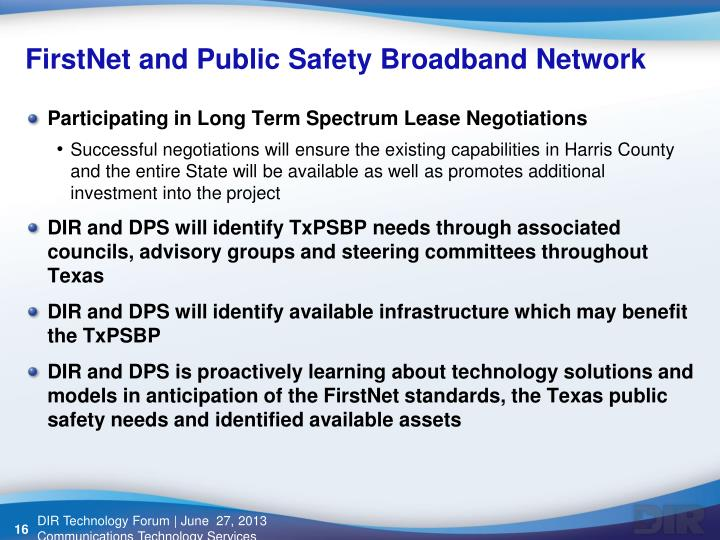 FirstNet and Public Safety Broadband Network