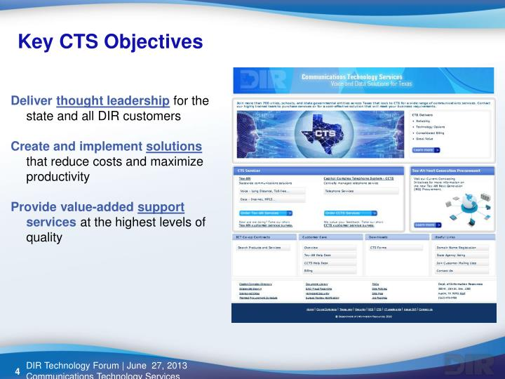 Key CTS Objectives