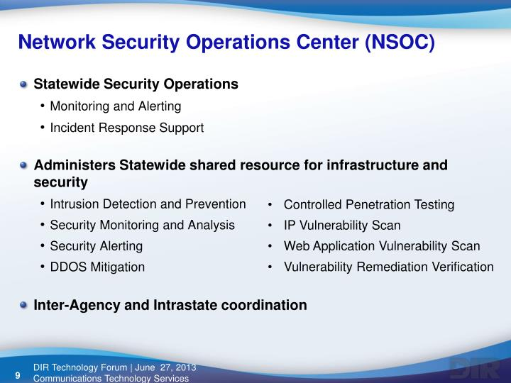 Network Security Operations Center (NSOC)