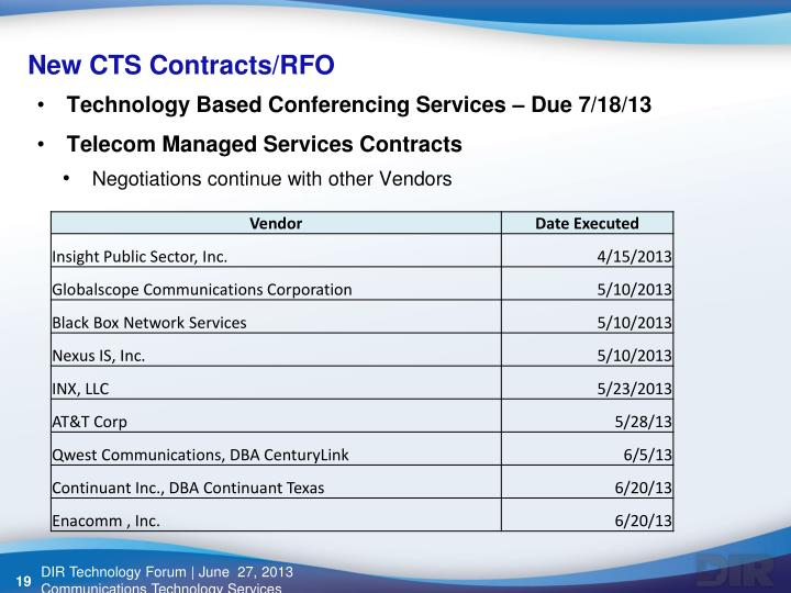 New CTS Contracts/RFO