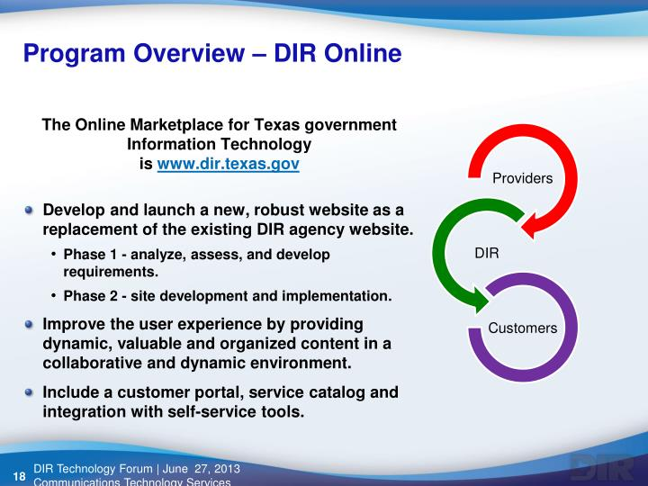 Program Overview – DIR Online