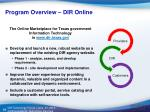 program overview dir online