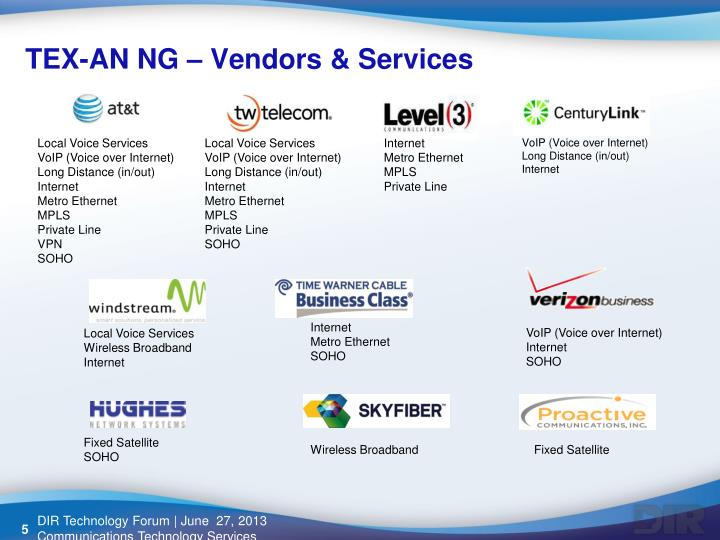 TEX-AN NG – Vendors & Services